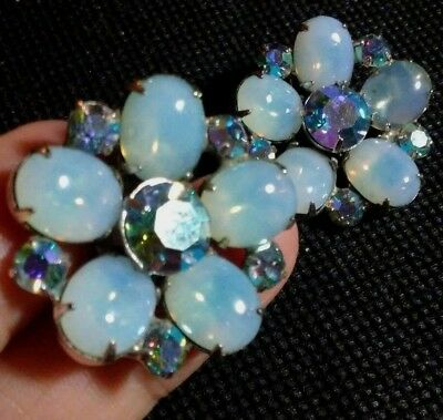 Vintage signed Coro Translucent blue beautiful floral clip earrings 1 in
