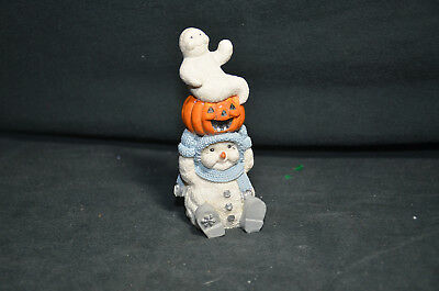 Snow Buddies - Snowman with Ghost and Pumpkin on Head Figure