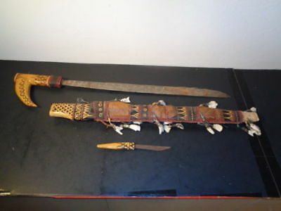 Antique Borneo Indonesia Dayak Tribal Head Hunter Mandau Sword & Knife