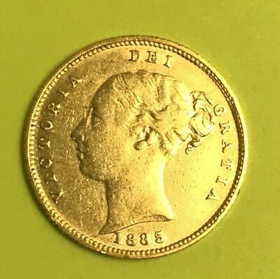 1885 Gold Great Britain 1/2 Sovereign Young Head Victoria Fine Gold Coin