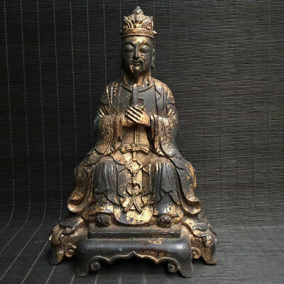 Spectacular Rare Old Archaic Chinese Bronze Buddha Seated Statue Sculpture Mark