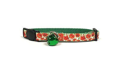 Midlee Poppy Flower Cat Collar Set with Safety Buckle by