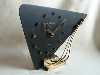 1925 Art Deco Awesome Machine Age Dutch Deskclock Bronze & Black Metal Very Rare