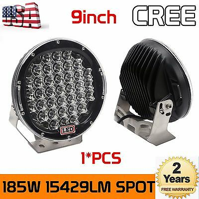 9inch 185W Black CREE LED Round Work Lights Spot Driving Head Light offroad SUP