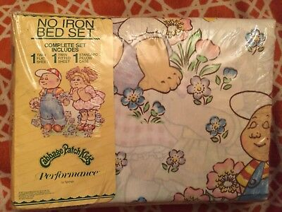 Cabbage Patch Kids NOS Twin Bed Bedding set Sheets Pillow Case Dolls Vintage 80s