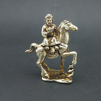 Chinese Handmade Exquisite Tibetan silver Old Man Riding a Horse Model Statue