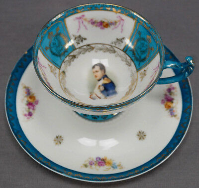 ES Prussia Napoleon Sevres Style Portrait Tea Cup & Saucer Circa 1902 - 37 AS IS