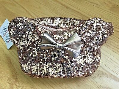 Mickey Ear Sequin Rose Gold Disney Parks Dlr Wdw Loungefly FANNY PACK Purse NWT