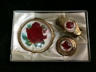 "Vintage Compact 3 Piece Set, Rose Pattern ""1950's"""