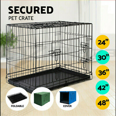 "24"" 30"" Dog Cat Pet Puppy Cage Kennel Crate Collapsible 3 Doors Metal Wire Tray"