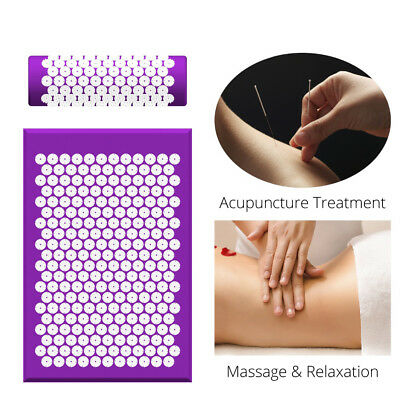 Acupuncture Acupressure Stress Pain Relief Yoga Spike Mat With Pillow Full Body