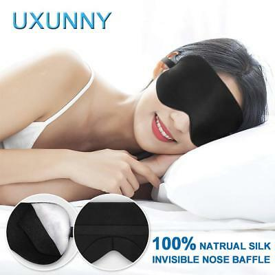 Silk Eye Mask for Sleeping, UXUNNY 100% Natural Mulberry Silk Sleep Mask, Super-