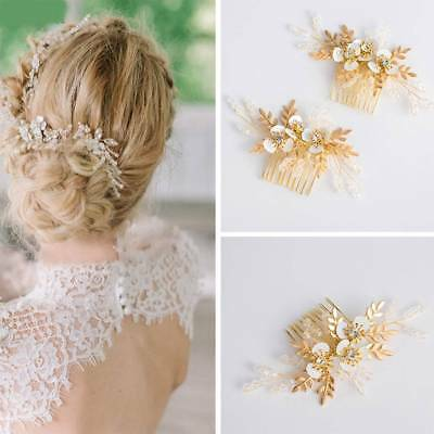Floral Headpiece Bridal Gold Hair Comb Crystal Women Wedding Hair Accessories