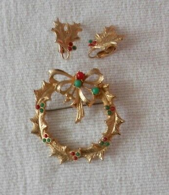 Vintage Holly Wreath With Matching Earrings