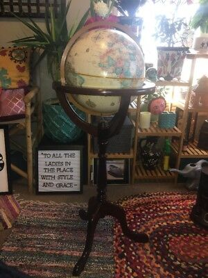 """Replogle 12"""" World Classic Globe Bombay Furniture Co Antique Style Wood Stand"""