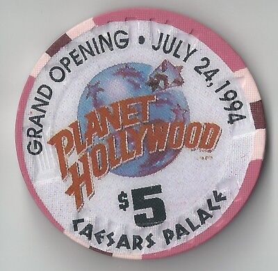 $5 Las Vegas Caesars Casino Chip Planet Hollywood Grand Opening July 24, 1994