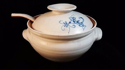 FOSTER Hand Thrown COVERED SOUP TUREEN w/ LADLE White Glaze 2 QT Perfect!