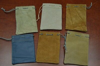 """6 PCS HANDMADE DRAWSTRING LEATHER JEWELRY GIFT POUCHES BAGS 3"""" x 4"""" #8020"""