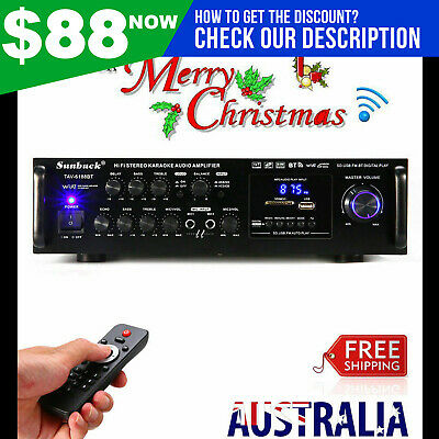 Sunbuck 2000W Pro Bluetooth HiFi Power Amplifier Stereo Surround Amp Karaoke FM