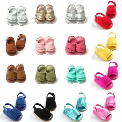 Toddler Baby Girls Leather Tassel Sandals Kids Anti-Slip Soft Sole Crib Shoes AU