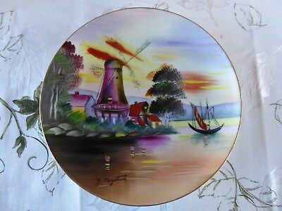 "Vintage Hand Painted Decorative Plate With Windmill Scene - Signed 8"" Diameter"