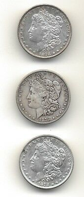 Lot of Three 1878 Silver Morgan Dollars Fine - Extra Fine Detail United States
