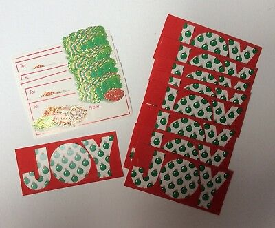 Vintage 70's 80's Christmas Gift Tags Unused Flocked Joy Glitter Candy Lot Of 15