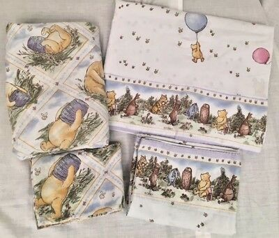 Disney Classic Winnie the Pooh Twin Flat Fitted Pillow Cases Sham Sheet Bedding