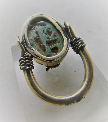 Beautiful Egyptian Gold Gilded Swivel Ring With Scarab Seal Insert
