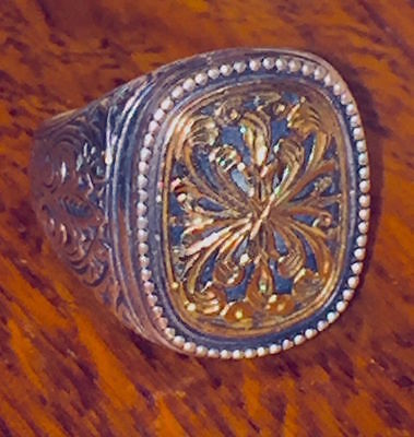 Byzantine Style 18K Gold & Sterling Silver Ring, Signed By The Artist