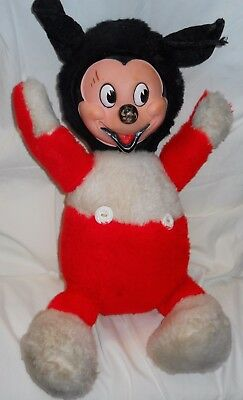 """Disney's Vintage GUND Mickey Mouse Stuffed Doll Rubber Face 18"""" Collectable"""