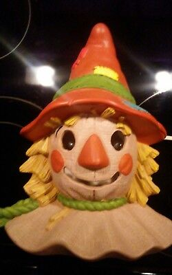 VINTAGE Ceramic Bisque Hand Painted Scarecrow Head Light up 1990S Lamp W CORD