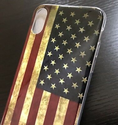 """For iPhone XR (6.1"""") - TPU Rubber Slim Fit Skin Case Cover Red USA American Flag"""