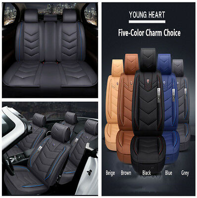 NEW Blue 6D Full-surrounded Microfiber Leather Car 5 Sits Seat Cover Cushion Set