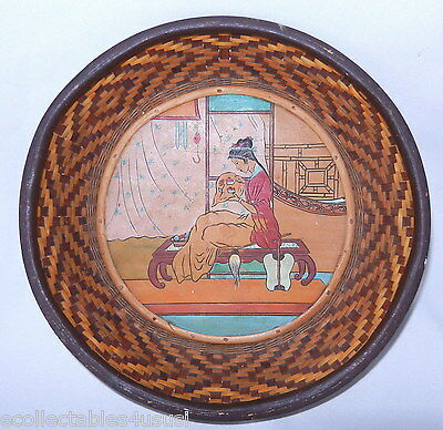 WOVEN BASKET ANTIQUE HAND PAINTED PANEL INSERT INSISED 1900s LADY DOING TAPESTRY