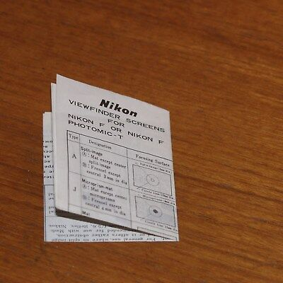 Instructions for Nikon F VIEWFINDER SCREENS PHOTOMIC-T