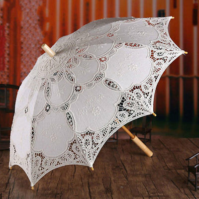 Large White Lace Parasol / Sun Umbrella - Wedding Vintage Elegant Costume Bridal