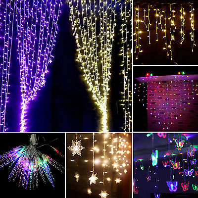 5M 216LED Curtain Fairy String Lights Xmas Indoor Outdoor Party Decor Waterproof