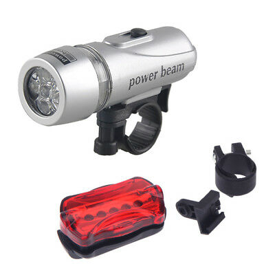 MTB Bicycle Cycle Bike Power Beam 5 LED Head Front Light Rear Tail Light Set