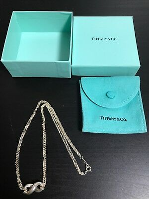 Authentic Tiffany & Co Sterling Silver Infinity Knot Pendant Chain Necklace