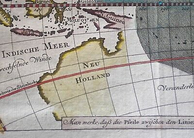 1750s BELLIN HAND COLOURED GERMAN EDITION PACIFIC OCEAN MAP