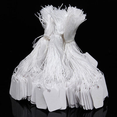 500Pcs Marking Tags Strung Paper Display Name Labels Clothes Price Tag White