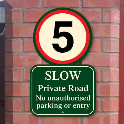 Private Road Sign, 5 mph speed limit sign, Street No Parking Sign, Slow Sign