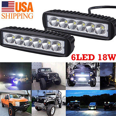 18W/800LM 6LED Bright Light Spot Work Bar Driving Fog Offroad Car Lamp For Truck