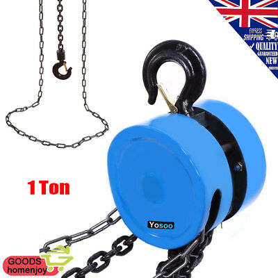 Garage Engine Heavy Load Lifting Tool Chain Block Hoist Winch Tackle Puller 1Ton