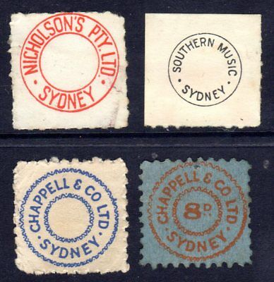 Four interesting royalty tax revenue stamps from old 78 records & Pianola