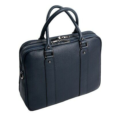 Italiano Nobile Cartella Conferenza Business Bag Din A4 Vera pelle Blu Scuro