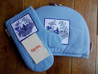 Blue Cotton Spode Oven Glove~Mitt & Tea Cosy With Embroidery~Unused~Nice Gift