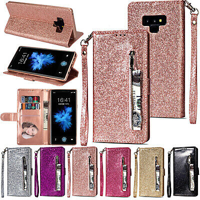 For Samsung Note 10 Plus S9 S8 S7 A5 Glitter Zipper Leather Wallet Case Cover