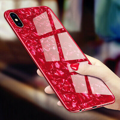 For iPhone X XS MAX XR 8 7 Plus Luxury Shockproof Back Tempered Glass Case Cover